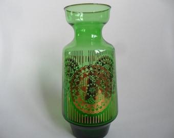 Green glass Vintage vase with golden applications,Vintage vase,sixties glass vase,richly decorated vase,festive glass vase