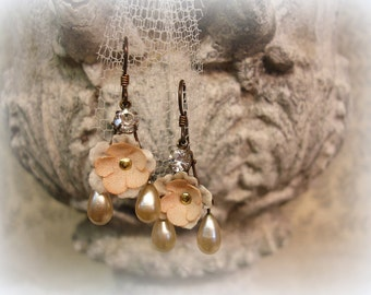 sweet petite limited edtion vintage assemblage earrings 1940s millinery flowers 1940s vintage glass pearls