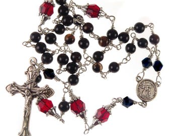 Anglican Episcopal Protestant Rosary Black Agate Red and Swarovski Crystal, Male, Female, Handmade, Unbreakable,Prayer Beads, Religious Gift