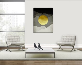 Mid Century Modern Canvas Art, Yellow and Gray Abstract Wall Art, Mountains Art, Minimalist Canvas Print, Abstract Landscape Print