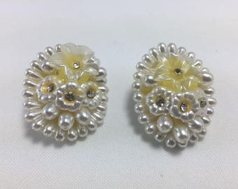 Vintage Faux Pearl and Rhinestone earings