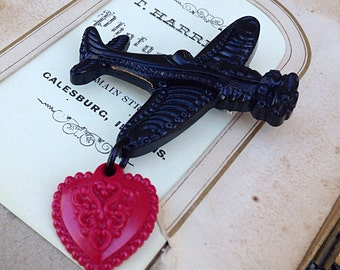 WWII Style Plane Brooch - Heart Victorian 50s Retro Vintage Inspired Reproduction 40s - Airforce Air Force Military