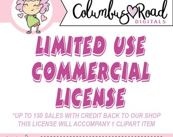 LIMITED USE Commercial License, add on this purchase to get limited commercial use up to 150 sales, for 1 item