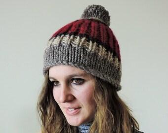 Chunky Pom Pom Hat, Color Block Hat, Hand Knit Pom Pom Hat, Mens Wool Hat, Womens Hat, Gray, Beige, Red