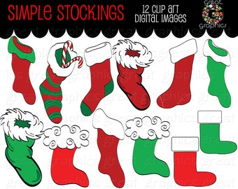 Christmas Clipart Digital Christmas Clip Art Christmas Stocking Digital Christmas Images Printable Christmas Clipart - Instant Download