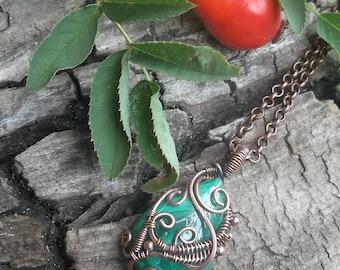 Мalachite pendant, Wire wrap necklace, Wire wrapped jewelry handmade,copper pendant