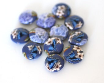 Lavender Beads, Polymer Clay Lentils, Dozen Purple Beads, Blue Butterfly, 12 Pieces Made to Order