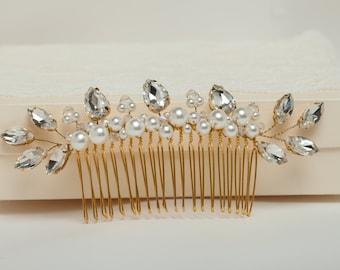 Wedding hair comb Crystal bridal hair comb Wedding crystal comb Crystal wedding headpiece Bridal hairpiece Wedding hair comb Leaves comb
