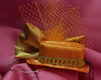 Bright Orange Heart-Shaped Fascinator