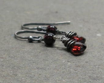 Garnet Earrings Red Triangle Geometric Jewelry January Birthstone Oxidized Sterling Silver Gift for Wife