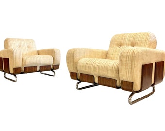 ON SALE - Vintage Rosewood & Chrome Arm Chairs - Mid Centruy Deco Hollywood Regency Arm Chairs - A Pair
