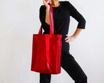 Metallic Red Tote Bag - New York Tote Bag