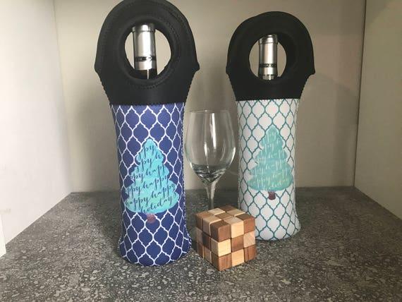 Happy Happy Holidays Vino Hugger, Wine Holder, Wine Bottle Cozie