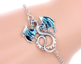 Blue dragon Fantasy Mythical hand pained bracelet