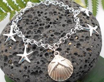 Sterling Silver Starfish Bracelet - Starfish, Beach Glass, Beach Wedding, Silver Bracelet, Silver Starfish, Charm Bracelet