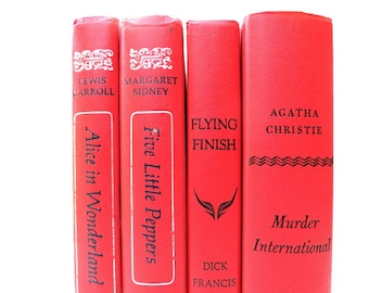 Red Coral Vintage Books / Book Decor / Decorative Books / Interior Decorating / Instant Library/Wedding Decor/ Photo Prop/ Book Bundle