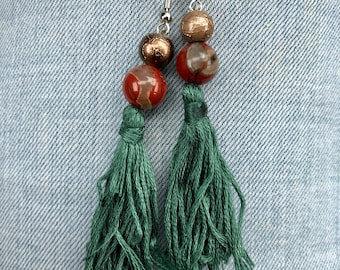 Teal tassle Earrings
