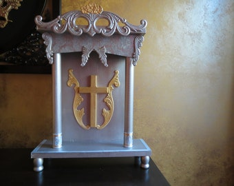 Altar- Tall Silver and Gold Home Prayer Altar or Shrine FREE SHIPPING