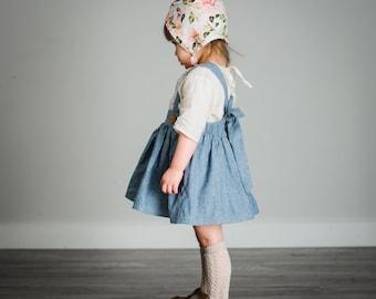 Girls Blue Suspender Skirt/ Chambray Skirt/Pinafore Skirt/Light Blue/6 months/12 mo /2T /3T /4T /5 years /6 /Vintage Skirt/Baby/Toddler