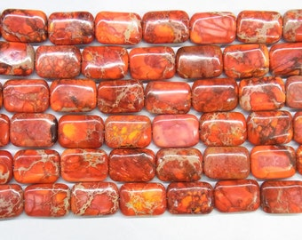 Sea Sediment Jasper Genuine Natural 12x16mm Rectangle Orange - 4537- 15''L 38cm Loose Beads Semiprecious Gemstone Bead   Supply