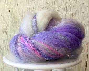 Art batt, fiber batt, wool batt, spinning, 1.2 ounce, Romney, purple, cream, pink