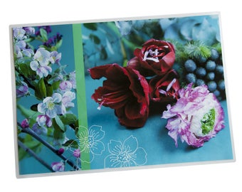 Placemat laminated red amaryllis and Carnation pink background light blue