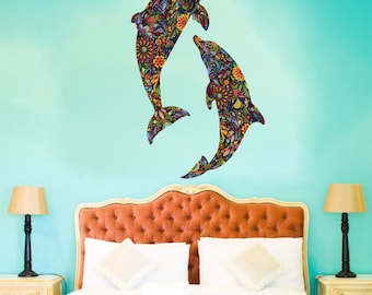 Dolphin Duo Wall Decal Set - Colorful Floral Wall Graphic