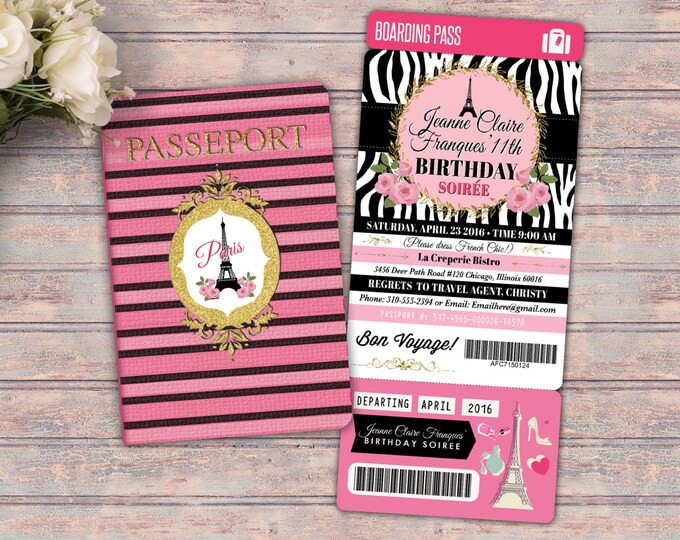 PASSPORT and TICKET birthday invitation! Girl's birthday party- travel birthday party invitation- Paris, Eiffel tower, Digital files only