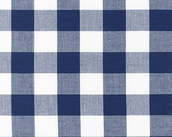 "Navy 1"" Plaid Cotton, Carolina Gingham, Scarf Fabric,Navy White Plaid Quilting fabric, Apparel Fabric, Gingham cotton Scarf, Robert Kaufman"