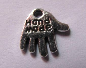 """set of 4 silver hand charms """"hand made"""" 12mmx12mm"""