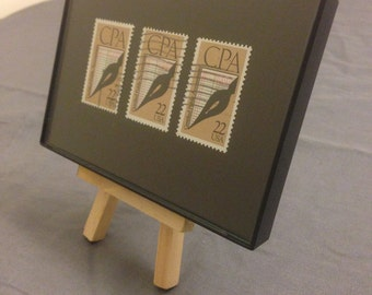 """CPA Accountant - Recycled Postage Stamp Framed Art 4""""x6"""", Accounting gift, CPA certified"""