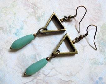 Aqua and Brass Drop Earrings (2936)