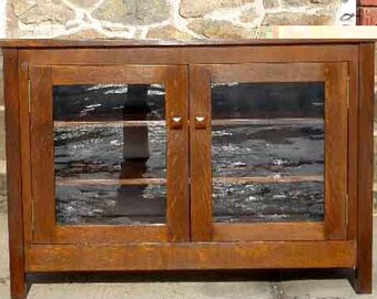 Mission, Arts & Crafts Style TV Cabinet with Glass Doors