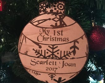 My 1st Christmas Wood Lasered Ornament- Personalize it!