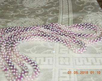 Vintage Handmade Crocheted Purple Variegated Beaded Necklace