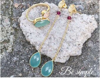 Gold and chalcedony earrings