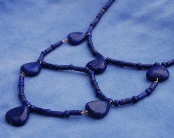 Lapis Dream Webbed Necklace - ancient egypt - kemetic - lapis lazuli