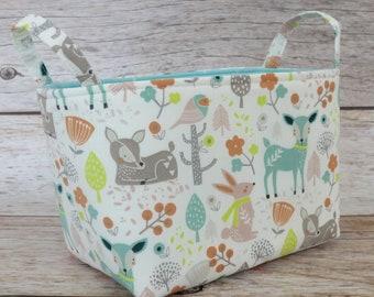 Fabric Organizer Storage Organization Bin Container Basket - Sweet Woodland Animals Fabric - Nursery Baby Room Decor