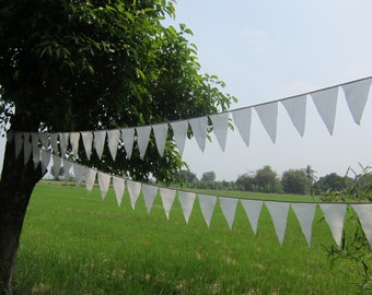 90 Ft White bunting banner pennant flags garland in plain thin muslin cotton party flags wedding bunting white long muslin cotton pennant