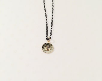 Oxidized Sterling Silver Necklace with Gold Vermeil Pendant
