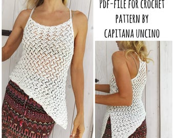 PDF-file for Crochet PATTERN, Astrid Top, 4 different Sizes: S, M, L, XL, adjustable length