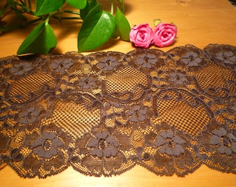 Brown stretch lace dark 16 cm wide