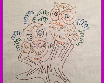 Colourwork Owl Design Number 1,  Redwork, Bluework, Linework, Digital Machine Embroidery Design in 4x4 and 5x7 hoop