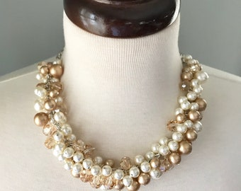Bubbly Necklace with Swarovski crystal - Gold, Cream, and Golden Shadow