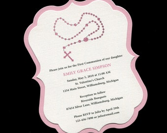 First Communion Invitation - Rosary - Pink - Girls - Communion Invitation - First Holy Communion - Personalized