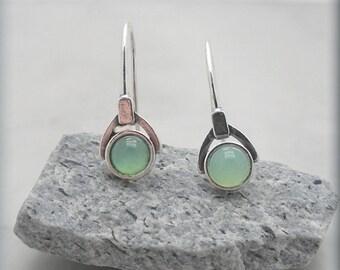 Green Chrysoprase Earrings Sterling Silver Gemstone Jewelry