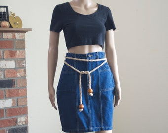 80s high waisted denim skirt / vintage body con mini skirt with pockets size S