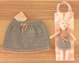 Doll girl and skirt set