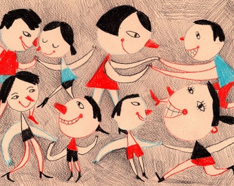 Swing Party / ORIGINAL DRAWING / Dancing around /Original Pencil Drawing / Red noses-Primitive Drawing Original Art