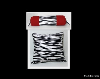 PAIR ~ Zebra Black white red Pillow cover set.  animal print, bolster & 18x18 black and white decorative throw pillow cover, accent decor